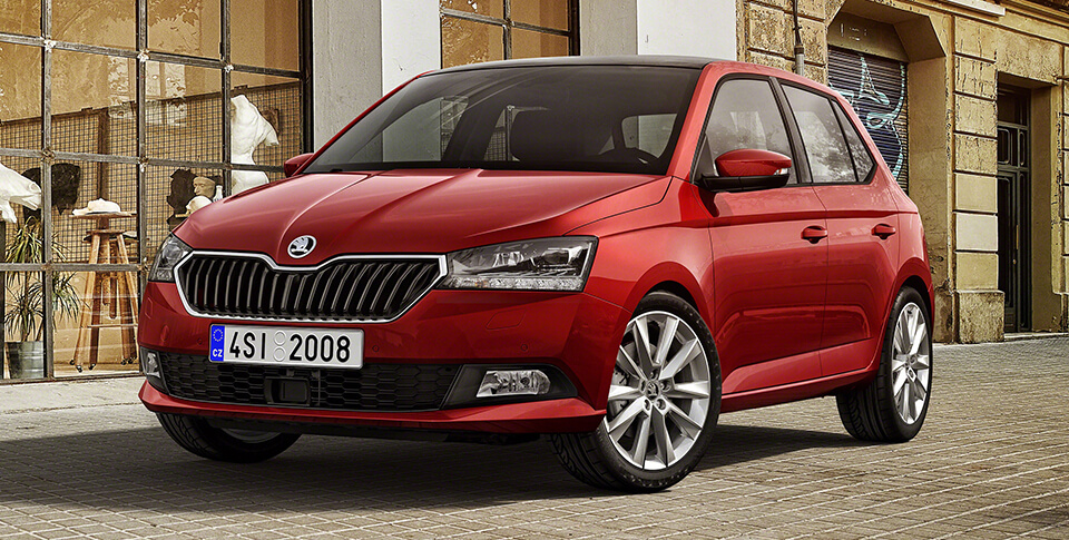Red Skoda side view image