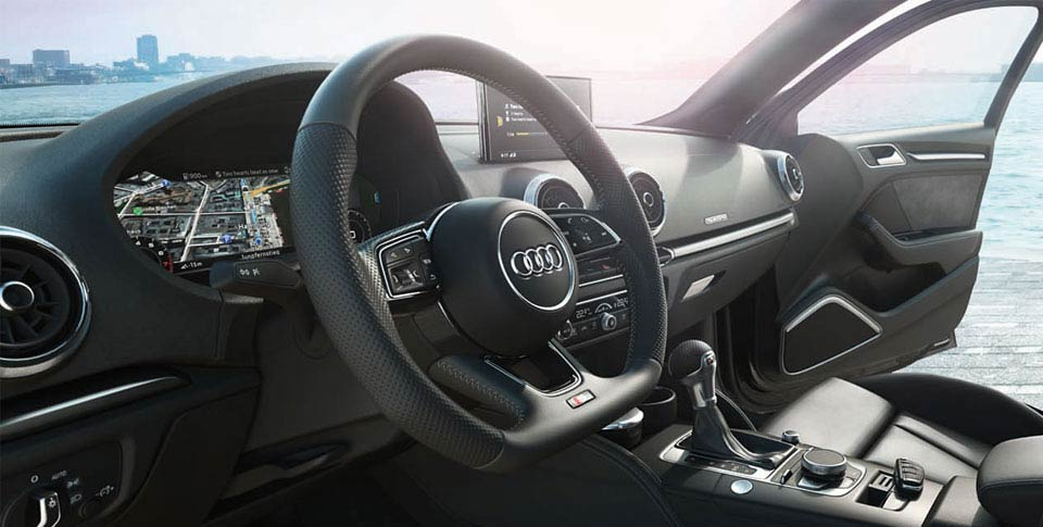 Detail of interior of Audi A3 car image
