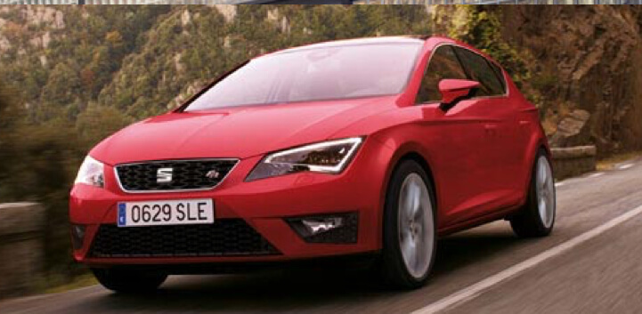 Red Seat Leon driving car image