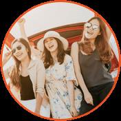 Three girls having fun while standing