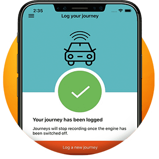 named young driver app logged journey screen