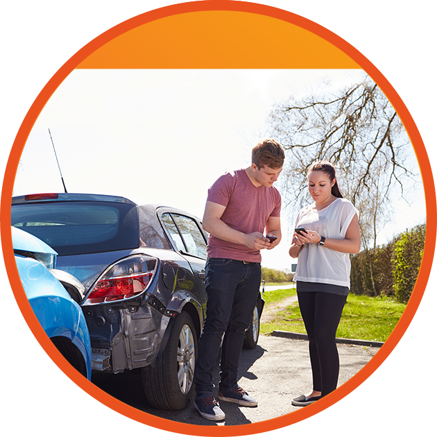 teens talking sorting out car accident