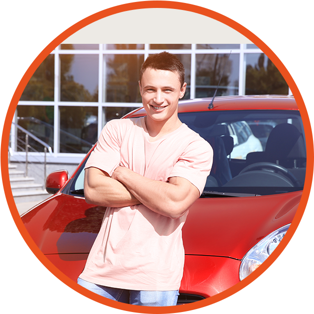 young man with new car happy