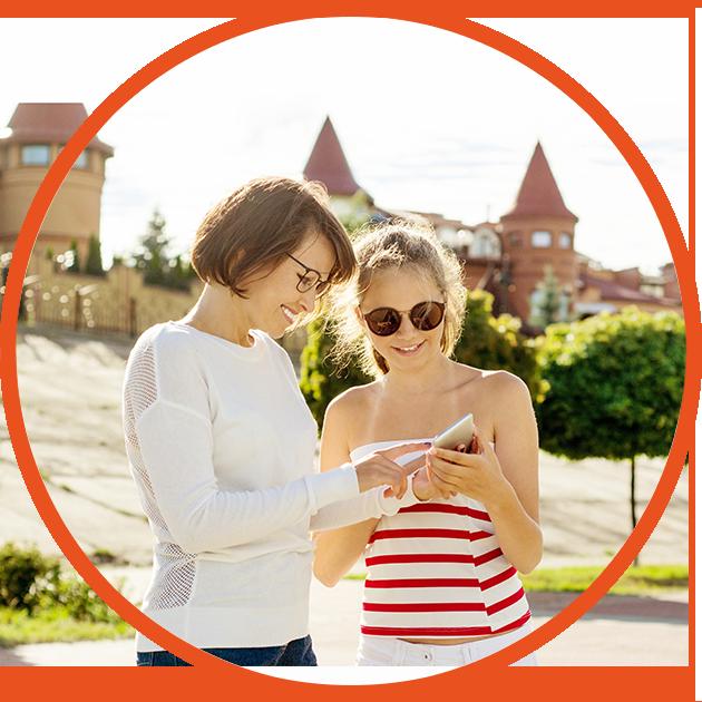 mum and teen using app