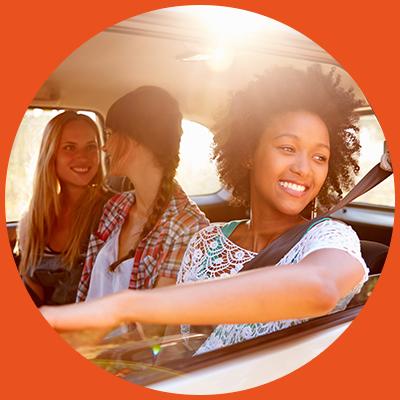 girls having fun in car