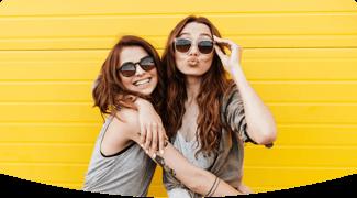 two girls happy