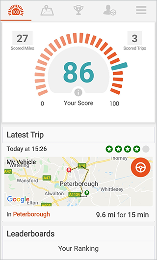 App dashboard screen