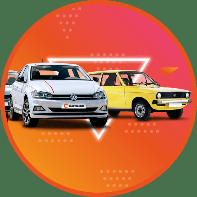1980s VW polo and modern VW polo