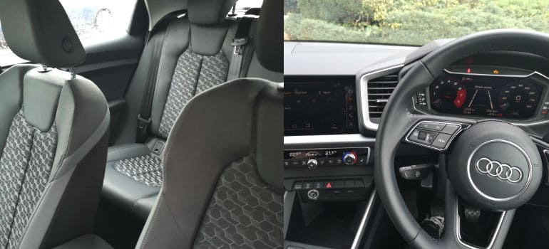 Audi A1 seats and steering wheel