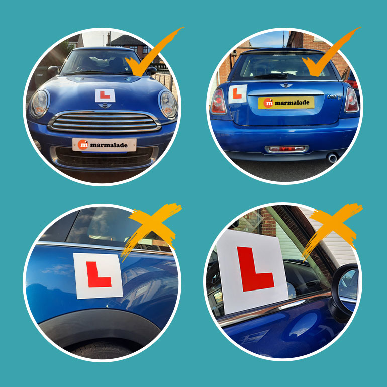 Where to place L plates image