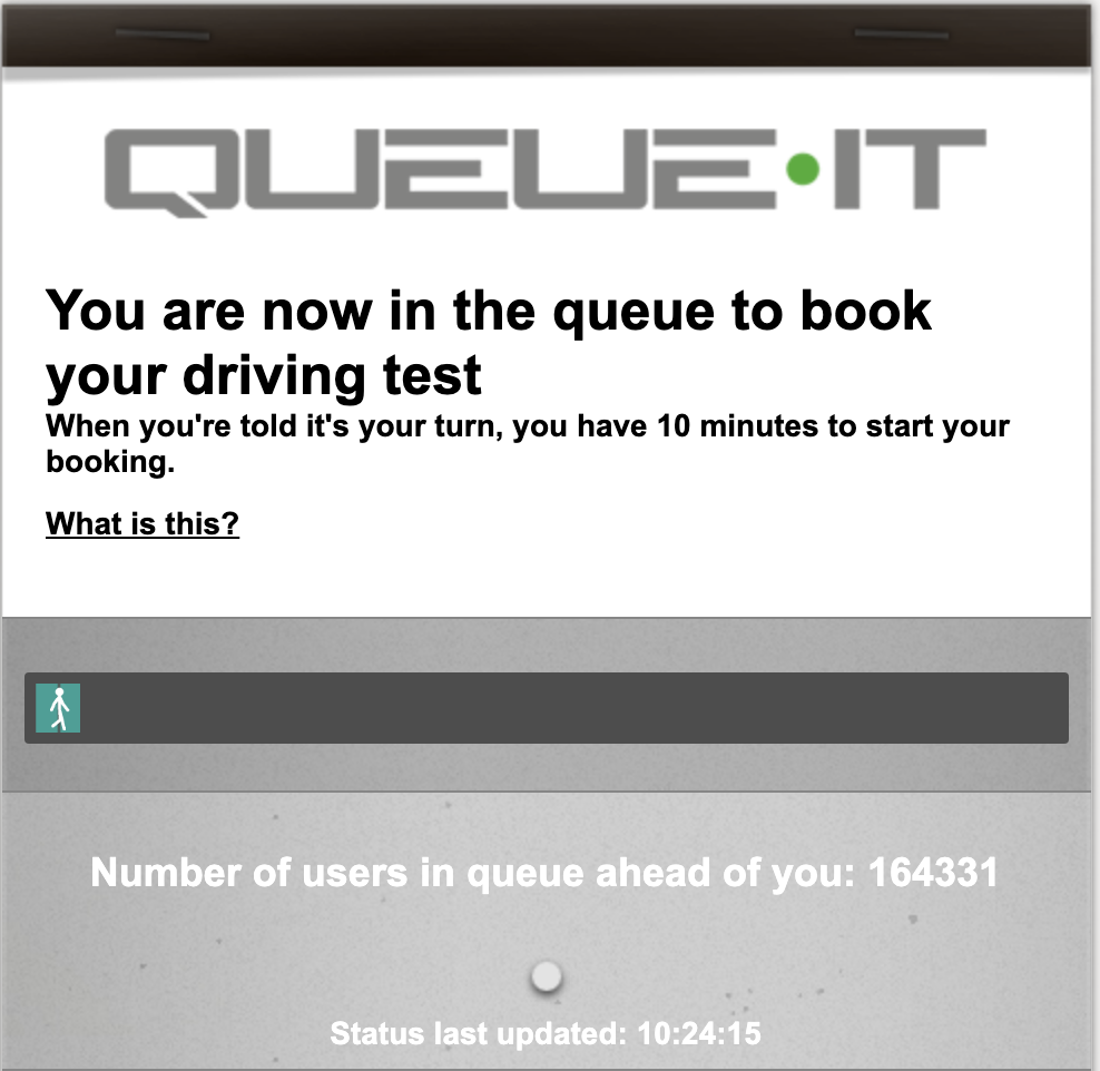 queue system driving test booking