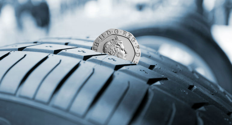 20 pence in a tyre