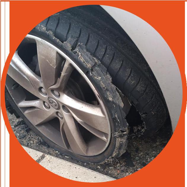 car wheel puncture
